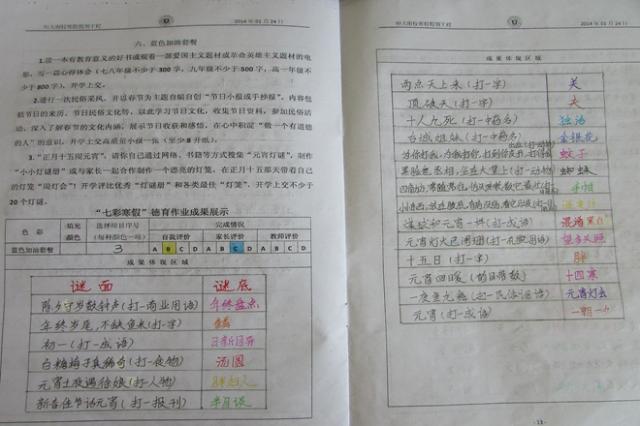 七彩寒假德育作业展示之蓝色加油套餐